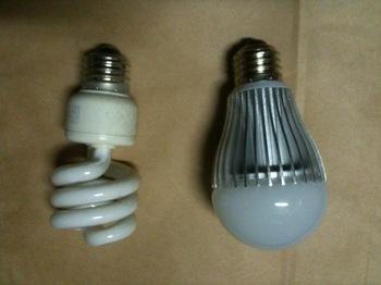 LED電球と蛍光灯電球